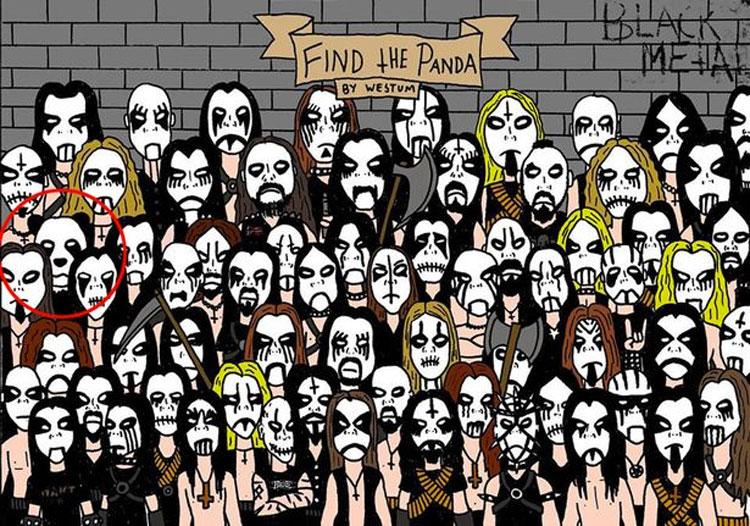 Encontrar un oso panda entre una multitud de fans del heavy metal es casi imposible. ¿Lo ves?