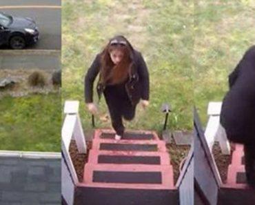 Esta mujer se acerca a la puerta de un extraño y trata de robar un paquete cuando de repente sucede esto...