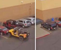 Las cámaras capturan un robo de aparcamiento, y el del Jeep se venga con mucha inteligencia