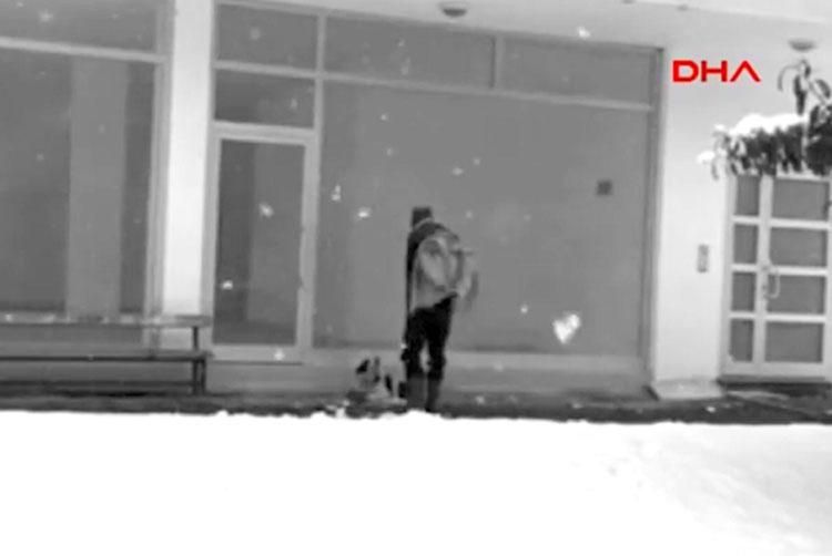 Cámara de seguridad captura a un hombre haciendo la cosa más dulce a un perro perdido durante tormenta