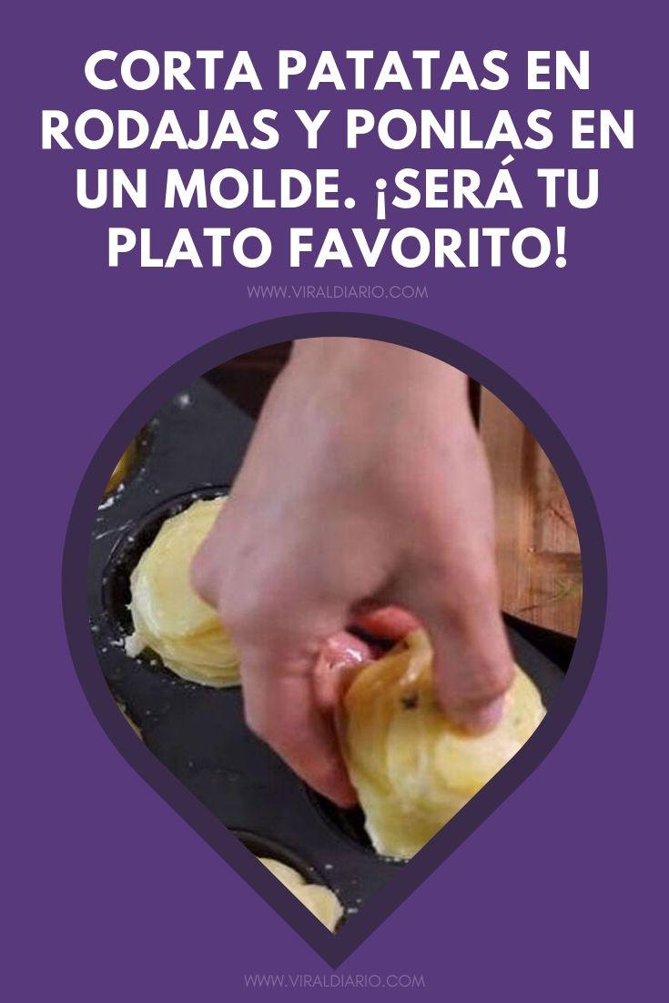 Corta patatas en rodajas y ponlas en un molde. ¡Lo que salga del horno será el plato favorito de la familia!