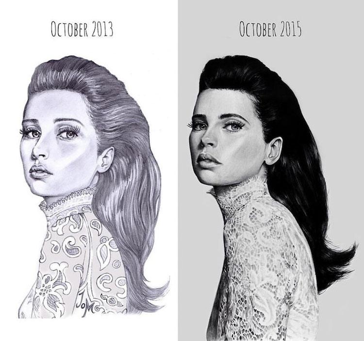 """Artistas comparten el """"antes y después"""" de la evolución de sus habilidades de dibujo tras años de práctica"""