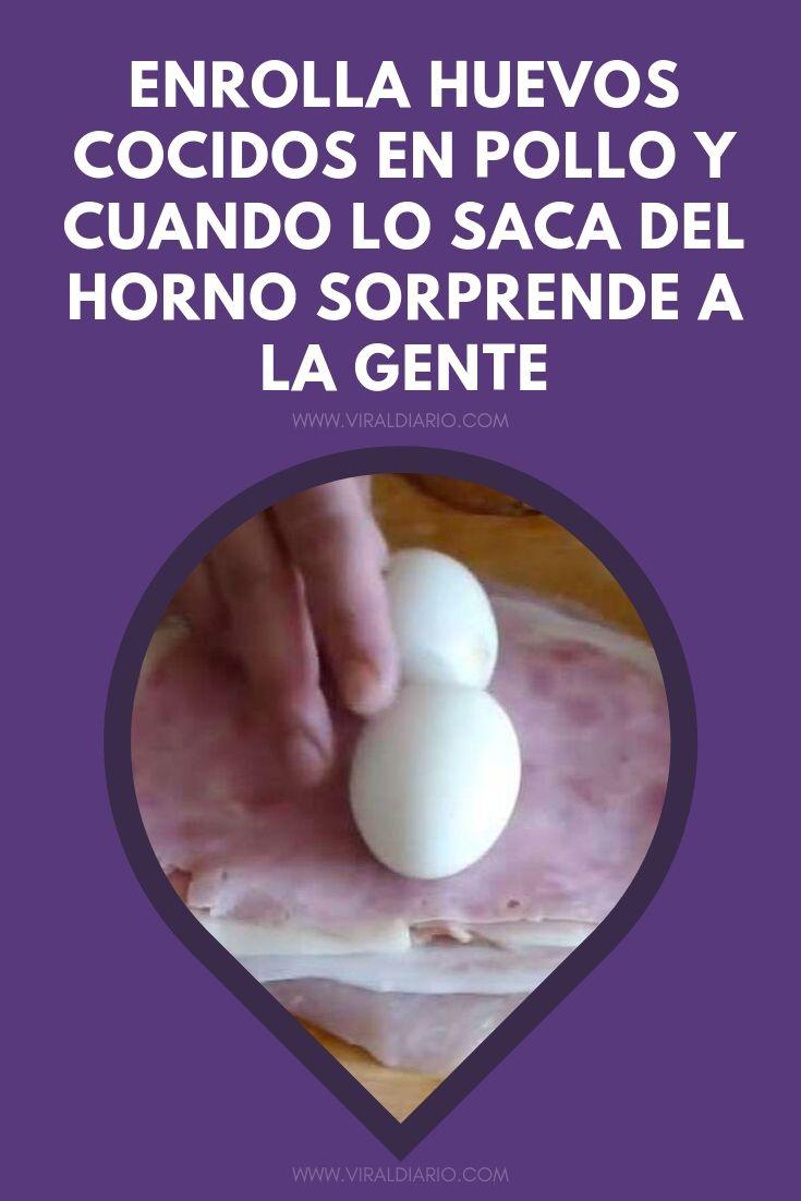 Enrolla huevos cocidos en pollo y cuando lo saca del horno sorprende a la gente