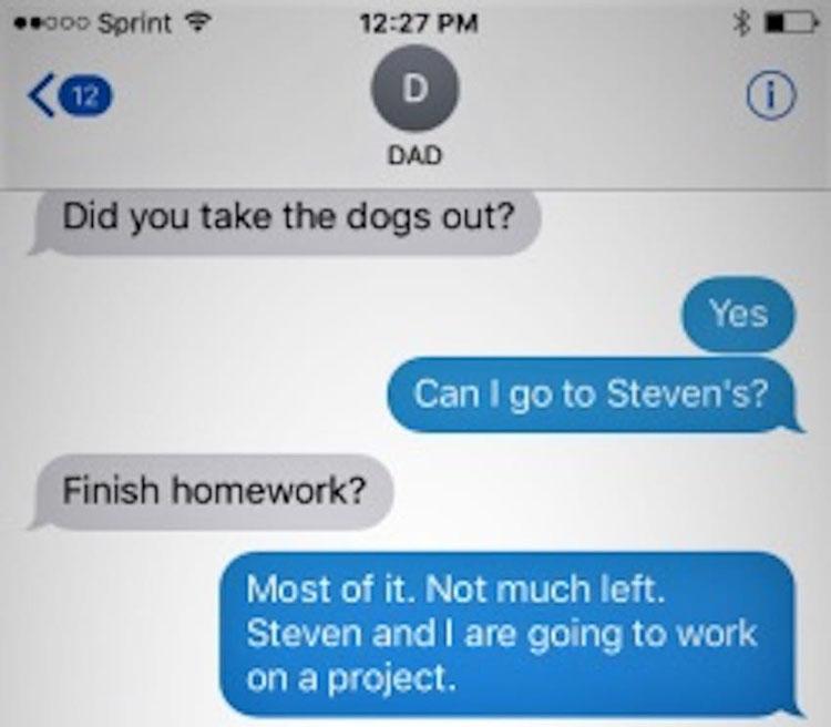 Esta adolescente fue a dormir a casa de un amigo. Horas más tarde, su padre recibe un mensaje de una sola letra