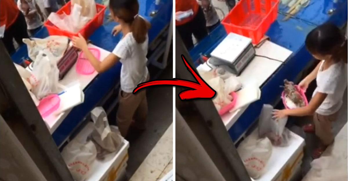 Cámara oculta muestra cómo una vendedora de pescado en China engaña a sus clientes