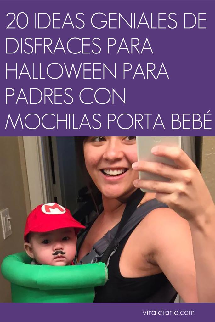 20 ideas geniales de disfraces para Halloween para padres con mochilas porta bebé
